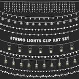 Chalkboard sznurka światła Ustawiający Obrazy Royalty Free