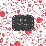 Chalkboard sztuki serc czerwonej ramy bezszwowy wzór Fotografia Royalty Free