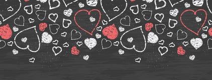 Chalkboard sztuki serc horyzontalny rabatowy bezszwowy ilustracji