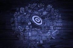 Chalkboard, target, parquet, innovation, business, plan, arrow, concept, sign, success, presentation, symbol, diagram, elements, d Royalty Free Stock Images