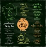 Chalkboard tea time menu collections. Herbal tea, iced and detox tea, hand drawn illustration Royalty Free Stock Photos