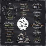 Chalkboard tea time menu list designs set for cafe or restaurant. Herbal tea, iced and detox tea, hand drawn illustration Stock Photography