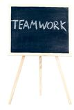 Chalkboard and teamwork Royalty Free Stock Images