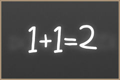 Chalkboard with text 1+1=2 Stock Image