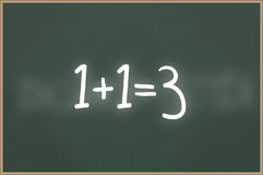 Chalkboard with text 1+1=3 Stock Photography