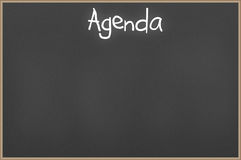 Chalkboard with text Agenda Stock Photos