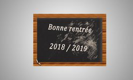 Chalkboard with a text on the autumn of 2019 on a white backgrou Royalty Free Stock Images