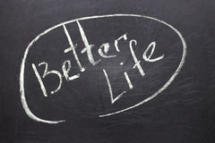 Chalkboard with the text:  Better Life Royalty Free Stock Image
