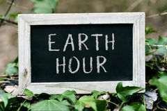 Chalkboard with the text earth hour Stock Photo