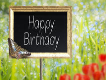 Chalkboard with text Happy Birthday Royalty Free Stock Photo