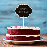 Chalkboard with the text happy birthday in a cake Royalty Free Stock Photos
