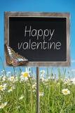 Chalkboard with text Happy valentine Stock Photos