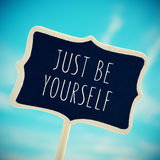 Chalkboard with the text just be yourself, vignetted Royalty Free Stock Photos