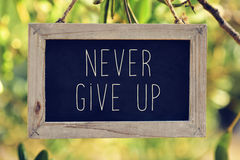 Chalkboard with the text never give up Royalty Free Stock Photos