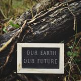Chalkboard with the text our earth our future royalty free stock image