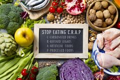 Unprocessed food and text stop eating CRAP stock image