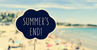 Chalkboard with the text summers end in a beach, filtered Stock Photos
