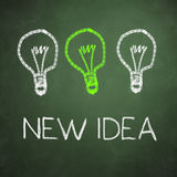 Chalkboard with three lighting bulb Royalty Free Stock Photos