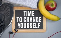 Chalkboard with time to change yourself royalty free stock photo