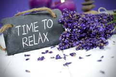 Chalkboard with time to relax. Slate chalkboard with lavender with time to relax stock photos