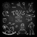 Chalkboard toys for girls and boys Stock Image