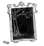 Chalkboard with a tree, Hand drawn. Stock Photo