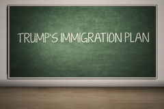 Chalkboard with Trump`s Immigration Plan word Royalty Free Stock Image