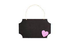 Chalkboard with twine hanger and glitter heart Stock Images