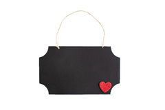 Chalkboard with twine hanger and glitter heart Royalty Free Stock Images