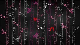 Chalkboard Valentine`s Day Birch Tree or Aspen Silhouettes with Lovebirds. Vector Format Stock Image