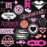 Chalkboard Valentine's Day Ornaments and Badges Royalty Free Stock Photo
