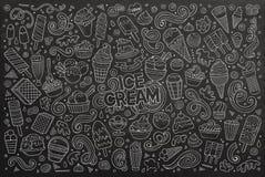 Chalkboard vector cartoon set of ice-cream objects Royalty Free Stock Image