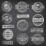 Chalkboard Vector Commercial Stamps. Collection of 13 Hi detail commercial grunge chalkboard stamps Royalty Free Stock Image