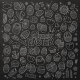 Chalkboard vector doodles cartoon set of Easter objects Stock Image