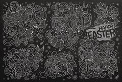 Chalkboard vector doodles cartoon set of Easter objects Royalty Free Stock Photography