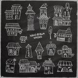 Chalkboard vector fairy tale houses Stock Photo