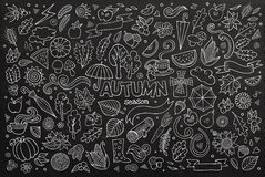 Chalkboard vector hand drawn Doodle cartoon set of Royalty Free Stock Photos
