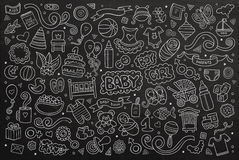 Chalkboard vector hand drawn Doodle cartoon set of. Objects and symbols on the baby theme Royalty Free Stock Images