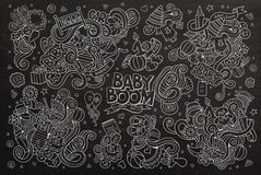 Chalkboard vector hand drawn Doodle cartoon set of Royalty Free Stock Photography