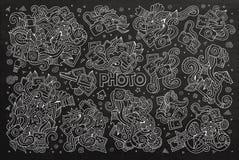 Chalkboard vector hand drawn Doodle cartoon set of Stock Images