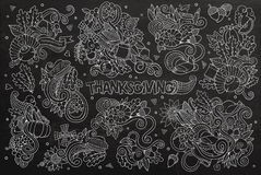 Chalkboard vector hand drawn Doodle cartoon set of Stock Images