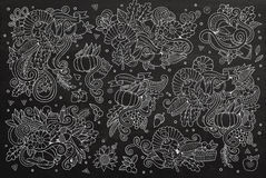 Chalkboard vector hand drawn Doodle cartoon set of Royalty Free Stock Photo