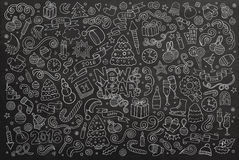 Chalkboard vector hand drawn Doodle set of New Stock Photo