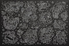 Chalkboard vector hand drawn Doodle set of New Royalty Free Stock Images