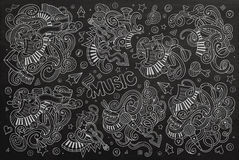 Chalkboard vector hand drawn doodles cartoon set of Music object Stock Images
