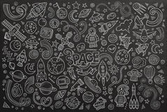 Chalkboard vector hand drawn doodles cartoon set Royalty Free Stock Photography