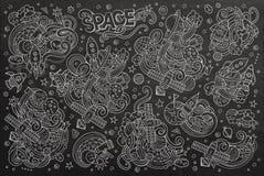 Chalkboard vector hand drawn doodles cartoon set Stock Image