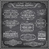 Chalkboard Vector Labels and Banners Stock Photos