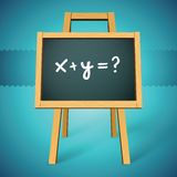 Chalkboard vector with x+y=? text. Easily removed to insert your own message (eps10 Royalty Free Stock Photography