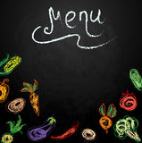 Chalkboard with vegetables for restaurant menu Royalty Free Stock Photo